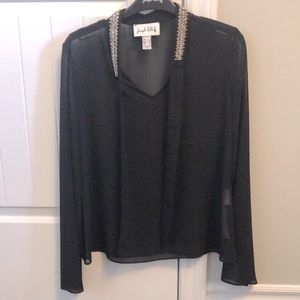 New Joseph Ribkoff black sheer blouse.